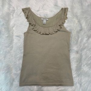 Gold ruffle tank collar White House Black Market